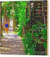 Goodbye Walking Away New Friends New Places To Visit Streets Of Verdun Montreal Art Scenes C Spandau Wood Print