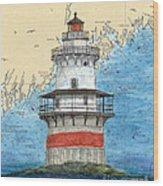 Goose Rocks Lighthouse Me Nautical Chart Peek Art Wood Print