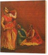Gopis Distressed As Krishna Is Not Seen Wood Print