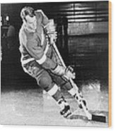 Gordie Howe Skating With The Puck Wood Print by Gianfranco Weiss