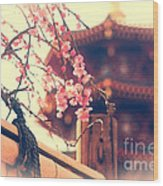 Gorgeous Pagoda And Plum Blossoms With Bamboo Fence Wood Print by Beverly Claire Kaiya