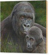 Gorilla And Baby Wood Print