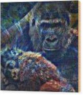 Gorillas In The Mist Wood Print