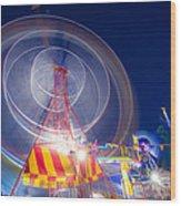 Gosford Ferris Wheel Wood Print by Steve Caldwell
