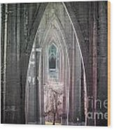 Gothic Arches Hands Folded In Prayer Wood Print
