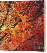 Gothic Autumn Leaves Wood Print