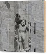 Gothic Cathedral Warrior Statue And Gargoyle Wood Print