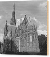 Gothic Church In Black And White Wood Print