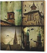 Gothic Churches And Crows Wood Print