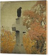 Gothic Fall Crow Wood Print
