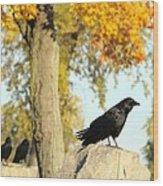 Three Ravens On A Gothic Graveyard Day Wood Print