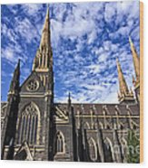 Gothic Revival Style St Patrick's Cathedral In Melbourne Wood Print
