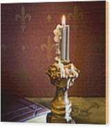 Gothic Scene With Candle And Gilt Edged Books Wood Print