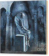 Gothic Surreal Angel In Mourning With Ravens Wood Print