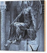 Gothic Surreal Cemetery Angel With Gargoyle And Bats Wood Print