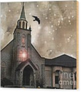 Gothic Surreal Haunted Church And Steeple With Crows And Ravens Flying  Wood Print