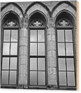 Gothic Windows - Black And White Wood Print