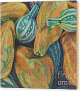 Gourds For Sale Wood Print by Janet Felts
