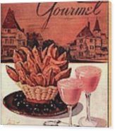 Gourmet Cover Featuring A Basket Of Potato Curls Wood Print