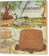 Gourmet Cover Featuring A Buffet Farm Scene Wood Print