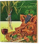 Gourmet Cover Featuring A Pig's Head On A Platter Wood Print
