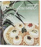 Gourmet Cover Featuring Poached Eggs On Cubed Wood Print