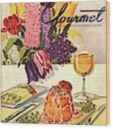 Gourmet Cover Featuring Sweetbread And Asparagus Wood Print