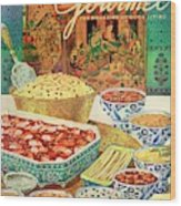 Gourmet Cover Featuring Various Indian Dishes Wood Print