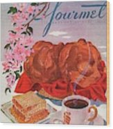 Gourmet Cover Illustration Of A Basket Of Popovers Wood Print