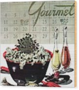 Gourmet Cover Illustration Of A Bowl Of Salad Wood Print