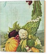 Gourmet Cover Illustration Of A Cornucopia Wood Print