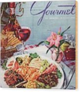 Gourmet Cover Illustration Of A Plate Of Antipasto Wood Print