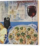 Gourmet Cover Illustration Of A Platter Wood Print