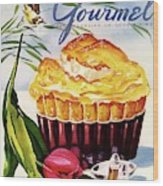Gourmet Cover Illustration Of A Souffle And Tulip Wood Print