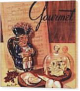 Gourmet Cover Illustration Of A Tray Of Cheese Wood Print