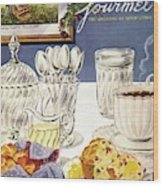 Gourmet Cover Illustration Of Cranberry Muffins Wood Print
