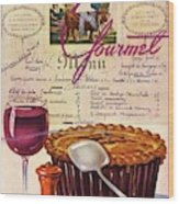 Gourmet Cover Illustration Of Deep Dish Pie Wood Print