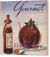 Gourmet Cover Illustration Of Flaming Chocolate Wood Print