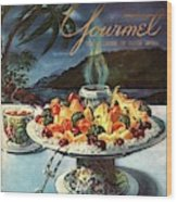 Gourmet Cover Illustration Of Fruit Dish Wood Print