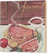 Gourmet Cover Of A Roast Beef Wood Print