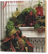 Gourmet Magazine Cover Featuring Christmas Garland Wood Print