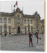 Government Palace Guards In Lima Wood Print