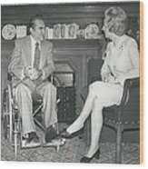 Governor George Wallace Meets Mrs Margeret Thatcher At The Wood Print