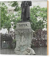 Goya Statue In Madrid Wood Print