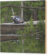 Superbike On Creek Bridge Wood Print
