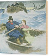 Grace Darling And Her Father Rescuing Wood Print