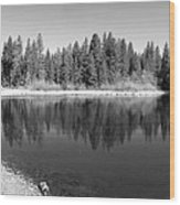 Grace Lake Reflections In Black And White Wood Print