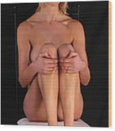 Grace Nude On A Chair Wood Print