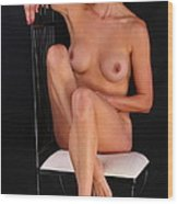 Grace Nude Relaxing On A Chair Wood Print