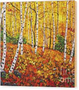 Graceful Birch Trees Wood Print